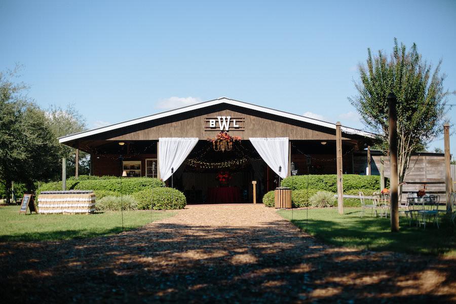 Rustic, Dover Barn Wedding Reception with Bride and Groom Initials | Cross Creek Ranch