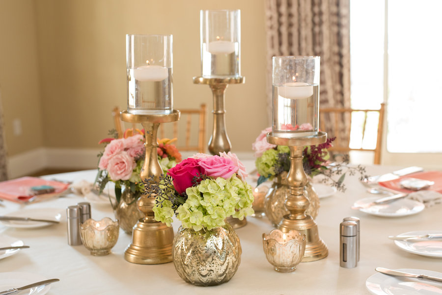 St. Pete Wedding Reception Decor with Pink and Green Floral Table Centerpieces and Tall, Gold Candles   St. Pete Wedding Venue Loews Don CeSar