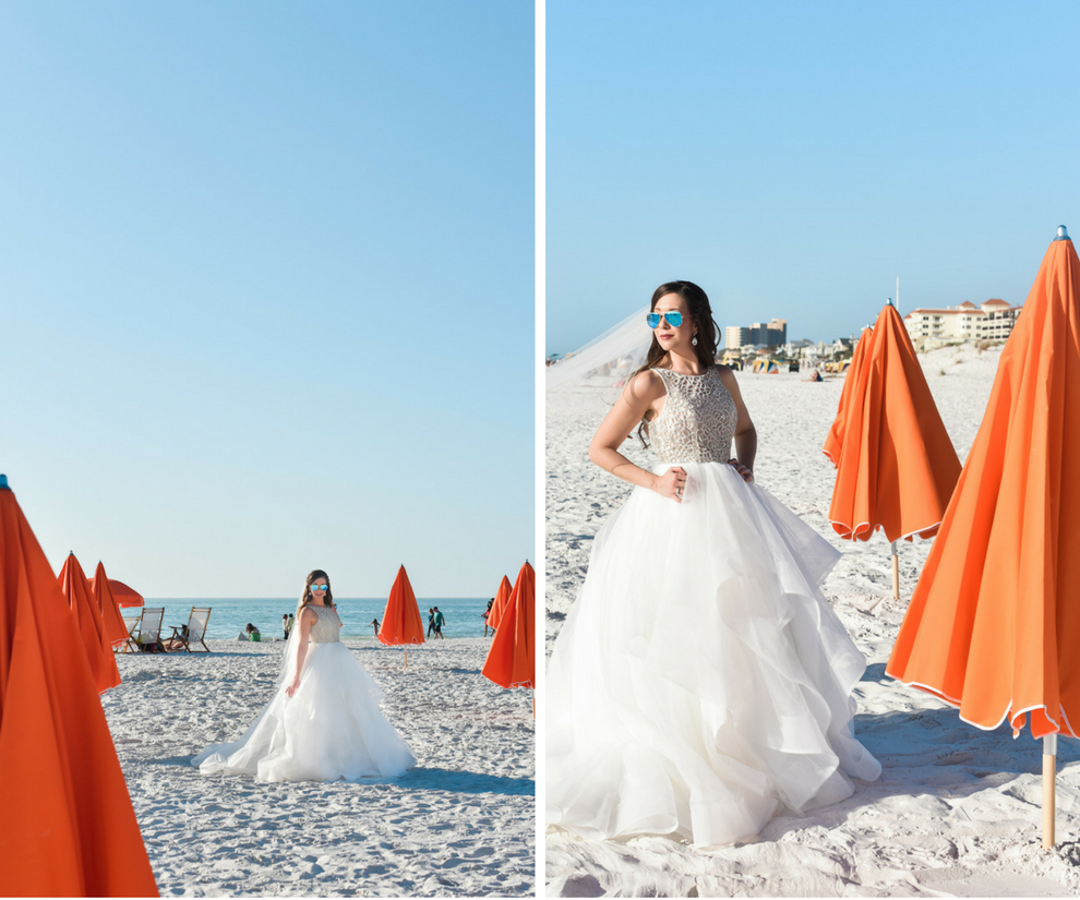 Bridal Wedding Portrait in Hayley Paige Style Dori 6413 Bridal Gown with Halter Neck and Crystal Bodice, Horse Hair Skirt and Chapel Train Wearing Sunglasses in Clearwater Beach, Fl | Hair and Makeup Artist Michele Renee The Studio