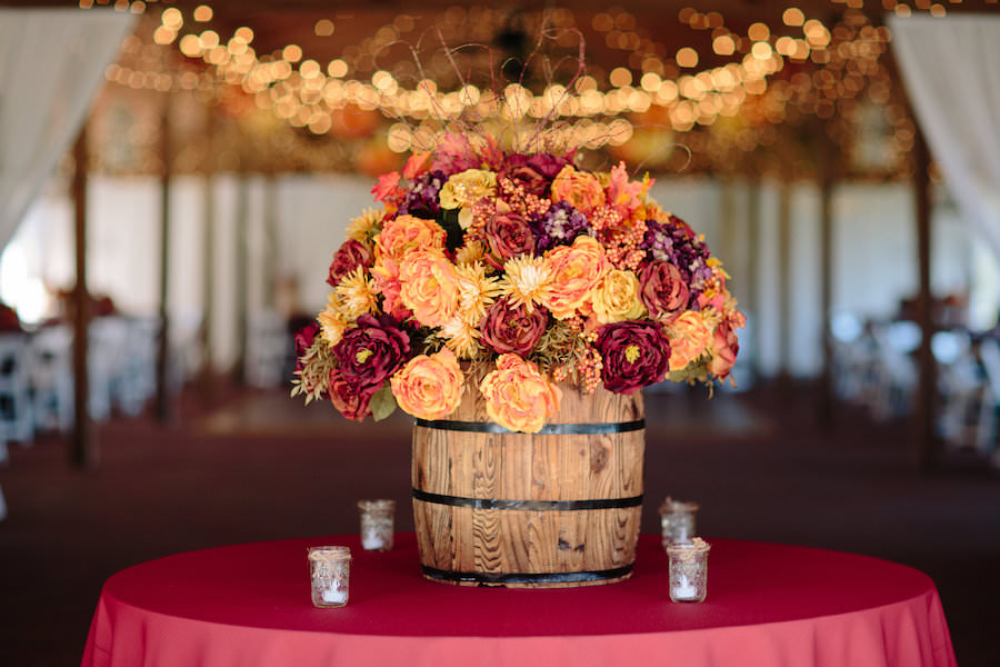Purple, Red, and Yellow Dover Wedding Reception Florals in Barrel