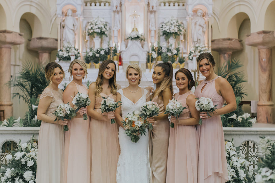 Bride and Bridesmaids Bridal Party Portrait at in Blush Bridesmaids Dresses | Celebrity Ariana Grande Bridesmaid