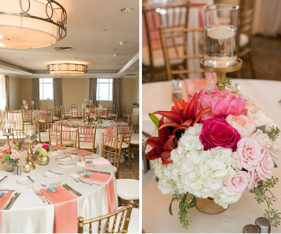 St. Pete Wedding Reception Decor with Gold Chiavari Chairs, Pink Table Napkins, and Pink, Orange, and White Floral Table Centerpieces   St. Pete Wedding Venue Loews Don CeSar
