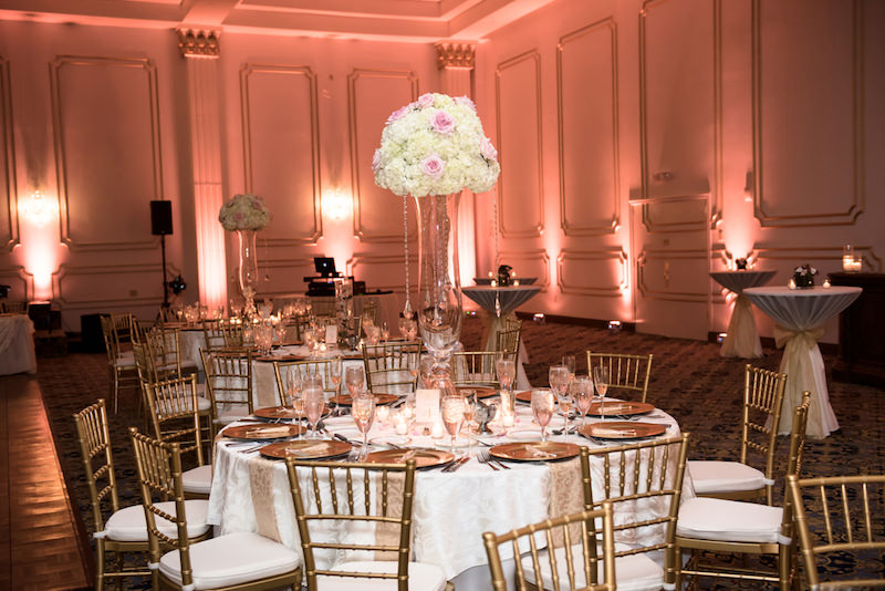 Tall Ivory Hydrangea and Blush Pink Rose Centerpieces | Elegant Romantic, Indoor Ballroom Wedding Reception at Historic Downtown Tampa Wedding Venue The Floridan Palace