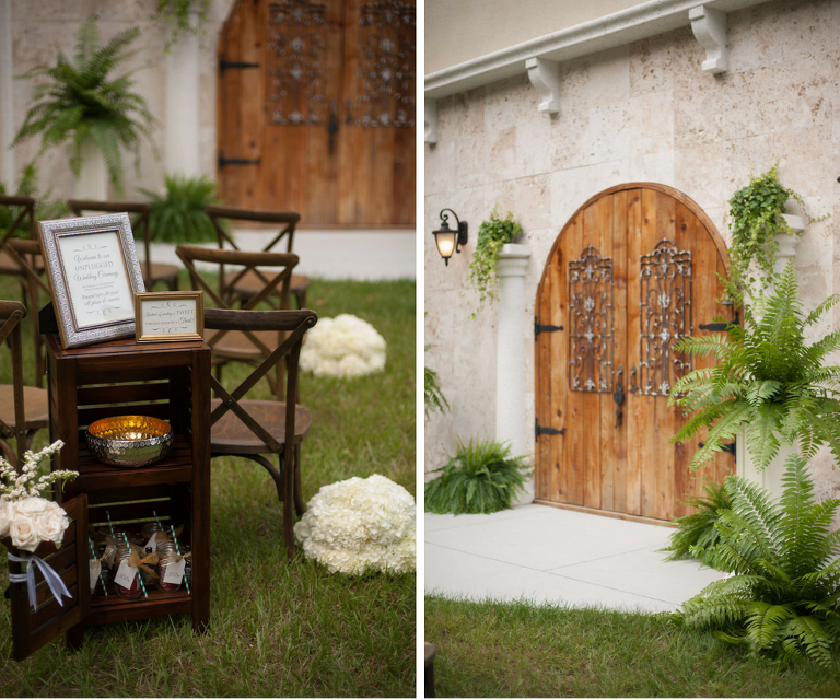 Rustic Outdoor Wedding Ceremony with Mahogany Wood Chairs at Baker's Ranch
