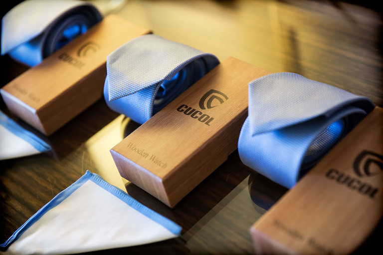 Groomsmen Wedding Attire Blue Ties and Wooden Watches