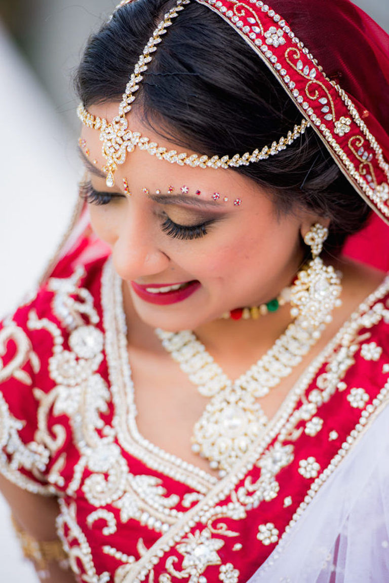 Indian Bridal Wedding Portrait in Red, Gold and White Sari | Tampa Bay Wedding Hair and Makeup Artist Michele Renee The Studio
