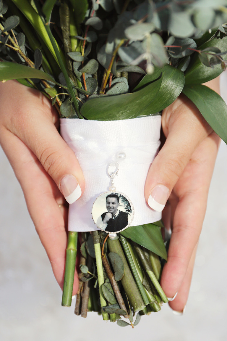 Wedding Bridal Bouquet with Remembrance Picture Charm