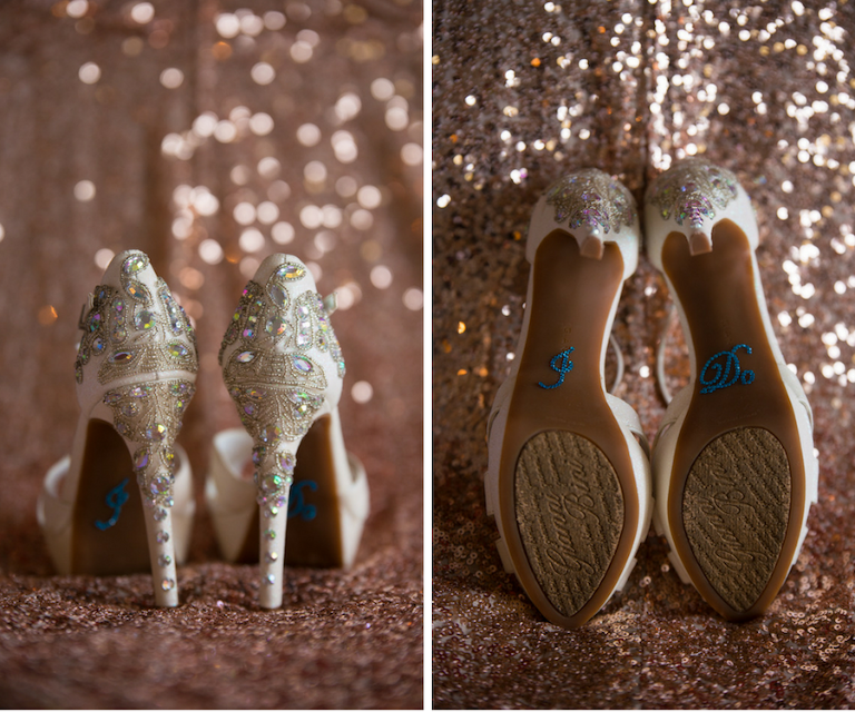 "Ivory, Gianni Bini Jeweled Wedding Shoes with ""I Do"" Blue, Bedazzled Sticker on the Sole 