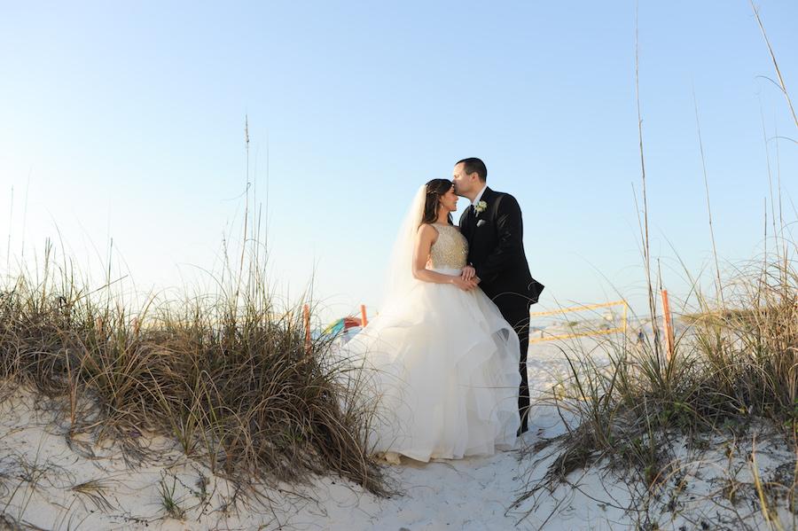Bride in Hayley Paige Wedding Gown and Groom in Ralpha Lauren Tuxedo Clearwater Beach Wedding Portrait | Wedding Hair and Makeup Artist Michele Renee The Studio
