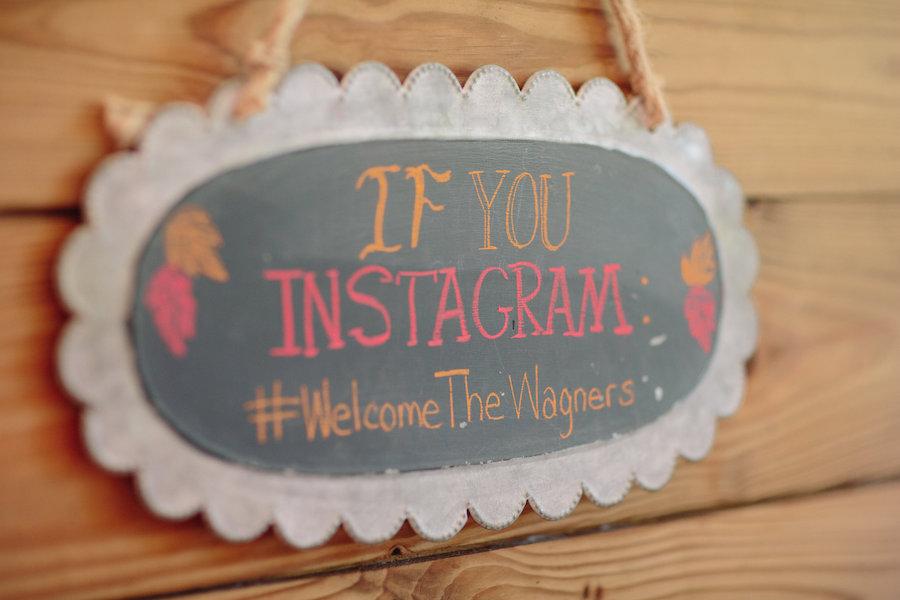 Dover Wedding Reception Bride and Groom Instagram Hashtag Sign