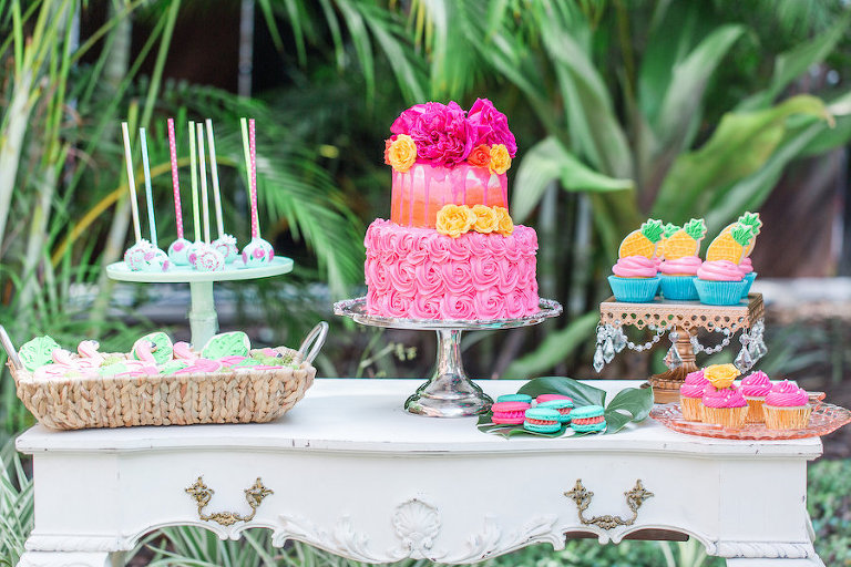 Lilly Pulitzer Tropical Inspired Wedding Dessert Table | Tampa Wedding Cakepops and Chocolate Covered Pretzel Rods by Sweetly Dipped Confections | Wedding Dessert Table Favorites