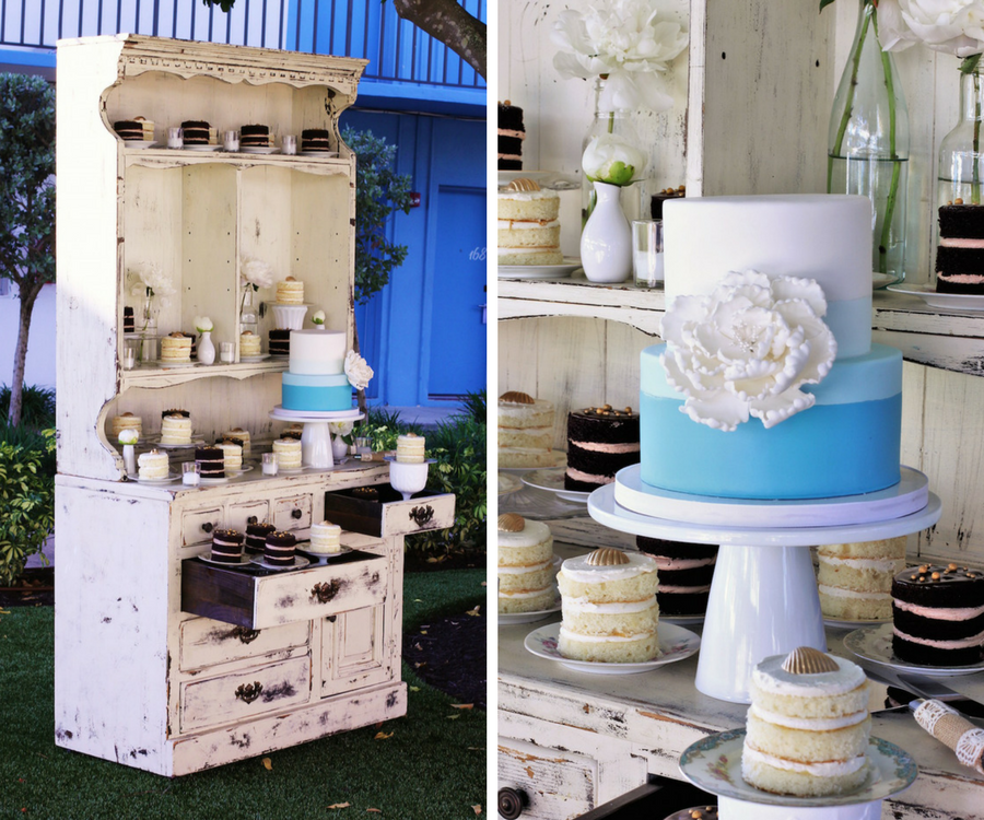 Rustic Inspired Wedding Cake Display, Tampa Wedding and Event Dessert Favor Table and Dessert Bar by Hands on Sweets, Tampa Wedding Cake Bakery