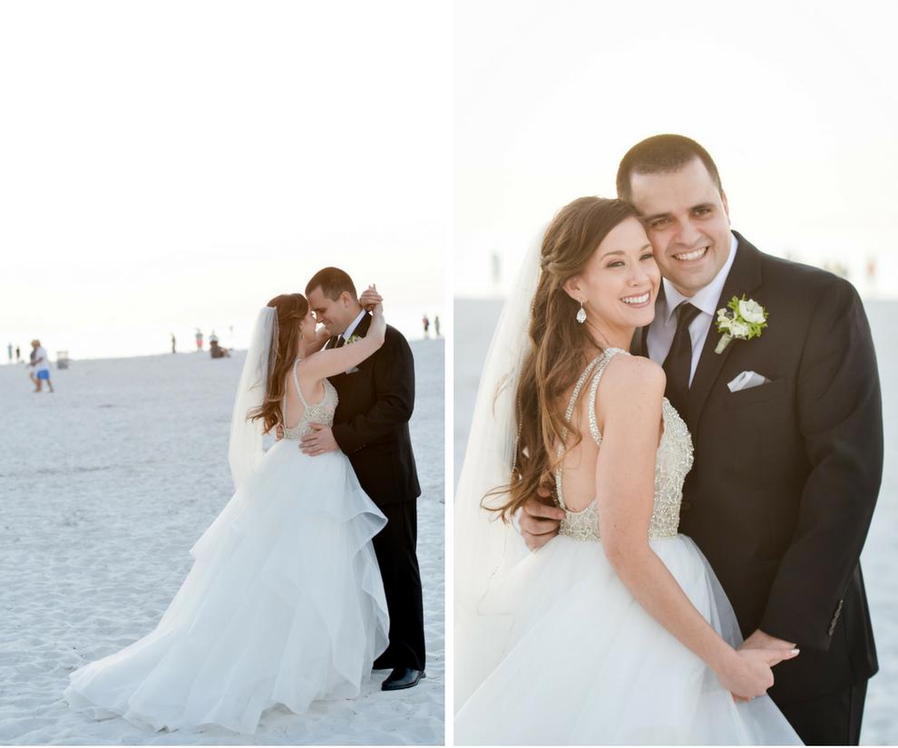 Bride and Groom Outdoor Clearwater Beach Wedding Portrait | Wedding Hair and Makeup Artist Michele Renee The Studio