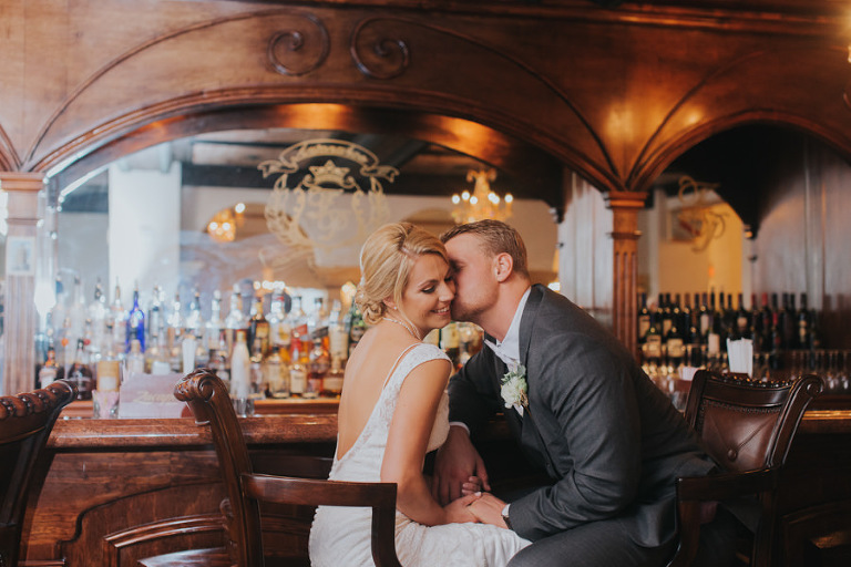 Bride and Groom Wedding Portrait at Indoor, Vintage Bar | Downtown Tampa Hotel Wedding Venue The Floridan Palace