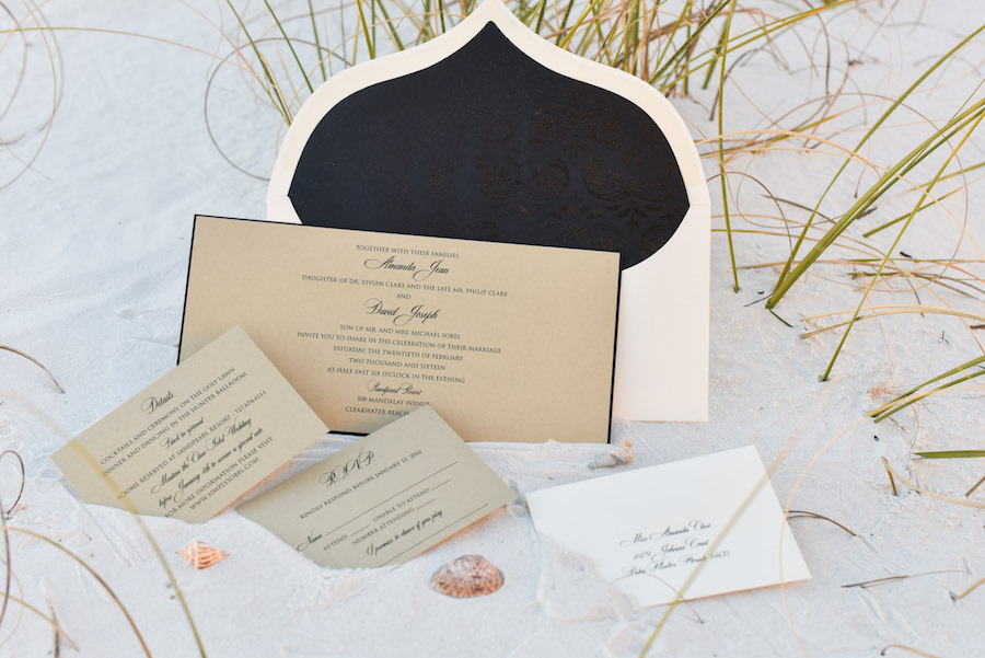 Elegant, Formal Beach Wedding Invitation Suite with Black Script Text on Tan Cardstock in the Sand