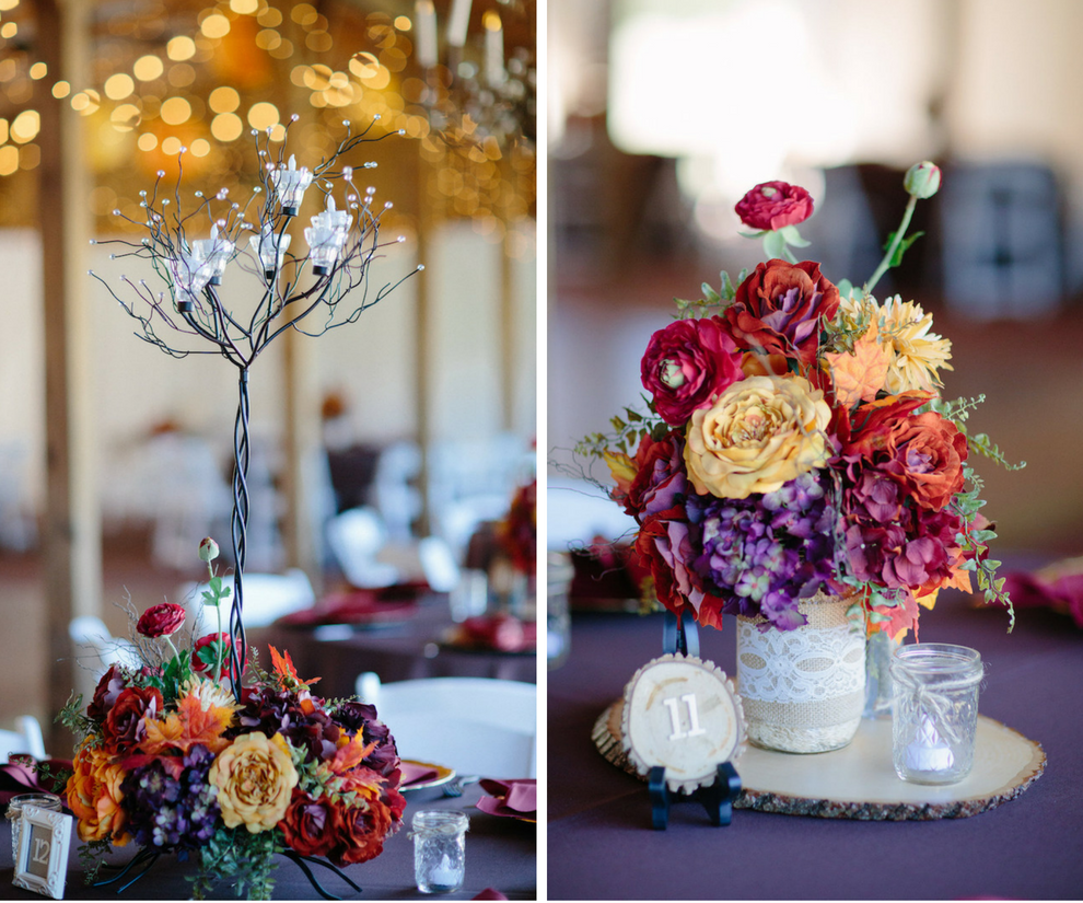 Dover Wedding Reception Table Decor with Purple, Red, and Yellow Floral Centerpieces in Mason Jars and Wooden Slab Table Numbers with Purple Table Linen