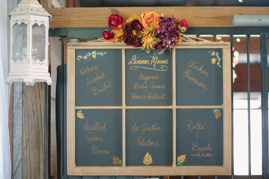 Chalkboard Dinner Menu at Dover Wedding Reception