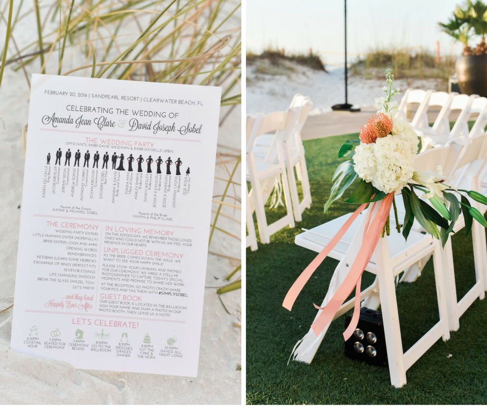 Formal, Outdoor Beach Wedding Ceremony with White Resin Folding Chairs on Artificial Turf with Ivory and Coral Aisle Bouquets with Tropical Greenery | Modern, Trendy Black and Coral Wedding Program