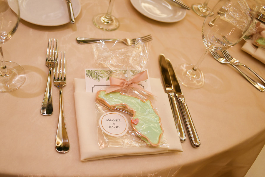 Wedding Reception Favor Ideas | Custom Monogrammed State of Florida Cookie | Clearwater Beach Cake Decorator Alessi Bakery