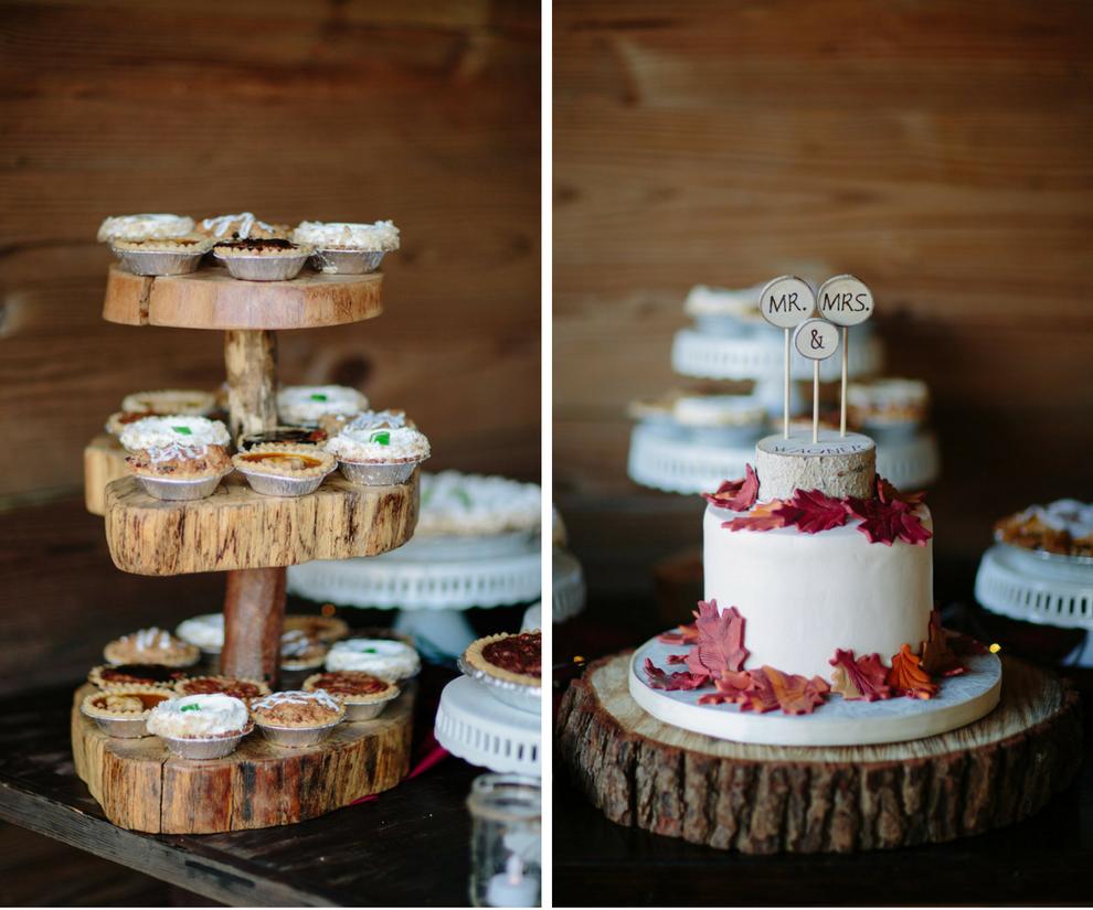 Three Tiered, Dessert Pie Holder and Two Tiered, Round, White Wedding Cake at Dover Wedding Reception