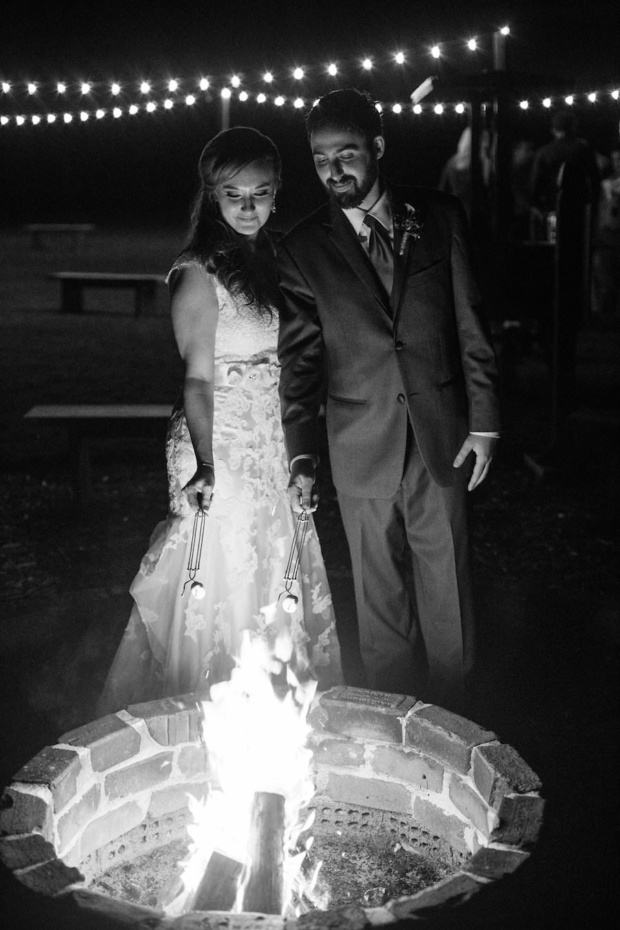 Bride and Groom Roasting S'Mores at Outdoor, Dover Wedding Reception