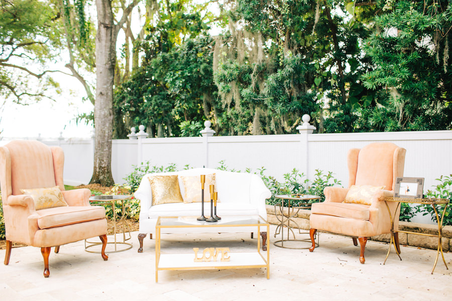 Outdoor Garden Wedding Reception Lounge Space Seating Area | Tampa Bay Vintage Wedding Furniture and Rentals | The Reserve Vintage Rentals
