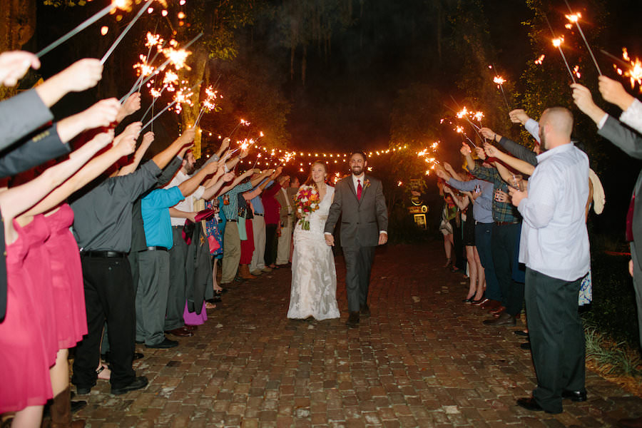 Bide and Grom Sparkler Exit at Dover Wedding Reception