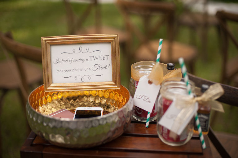Instead of Sending A Tweet, Trade your Phone For A Treat | Unplugged Wedding Ideas | Southern Wedding Inspiration