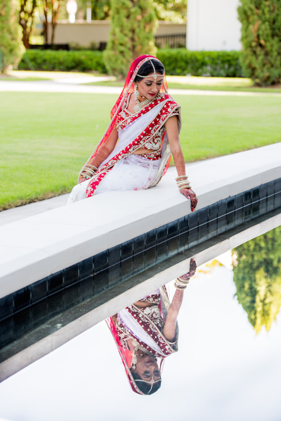 Indian Bridal Wedding Portrait in Red, Gold and White Panetar   Tampa Bay Wedding Hair and Makeup Artist Michele Renee The Studio