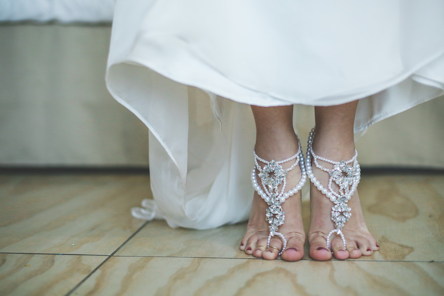 Crystal, Beaded Barefoot Wedding Sandals