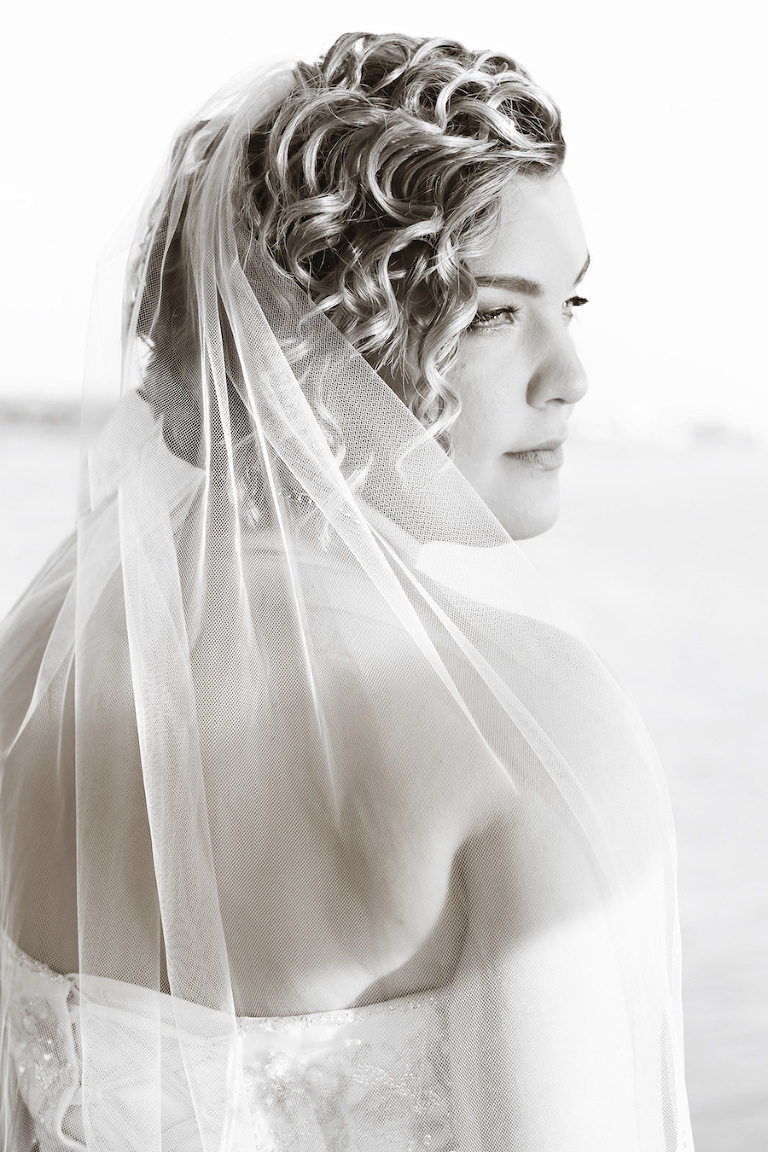 Curly, Wavy, Bridal Hair and Makeup Wedding Portrait with Wedding Veil