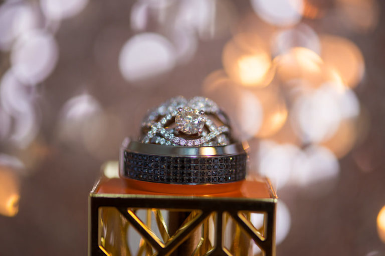 Princess Cut Engagement Ring with Wedding Rings and Bokeh Lighting | St. Petersburg Wedding Photographer Castorina Photography