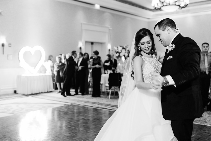 Bride and Groom First Dance on Wedding Day Portrait | Clearwater Beach Wedding Lighting by Nature Coast Entertainment Services