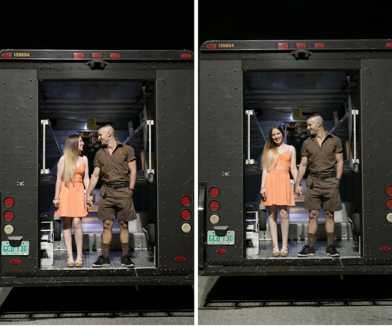 Couples Engagement Portrait On The Back of UPS Truck | Fiancé Works For UPS Engagement Shoot | Unique Engagement Session Ideas | Tampa Fl Wedding Photographer Carrie Wildes Photography