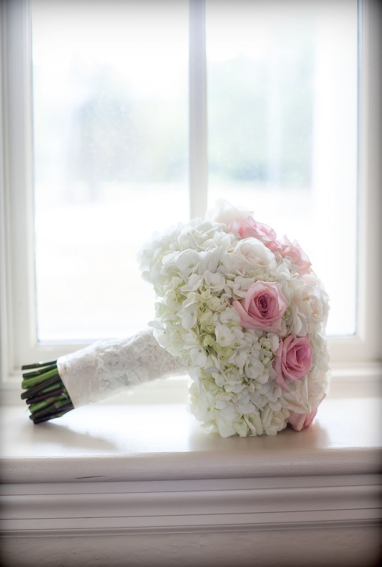 Ivory Hydrangeas and and Pink Rose Bridal Wedding Bouquet of Flowers