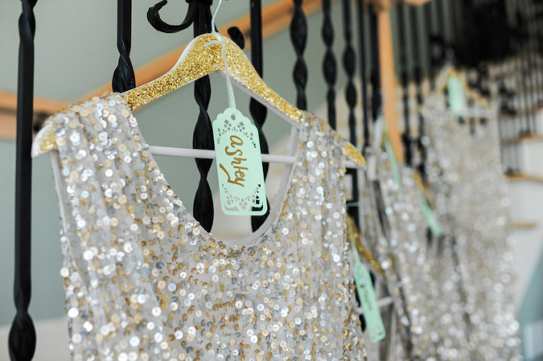 Gold and Silver Sequin Bridesmaid Dresses on Custom Gold Hangars | Getting Ready Wedding Portrait