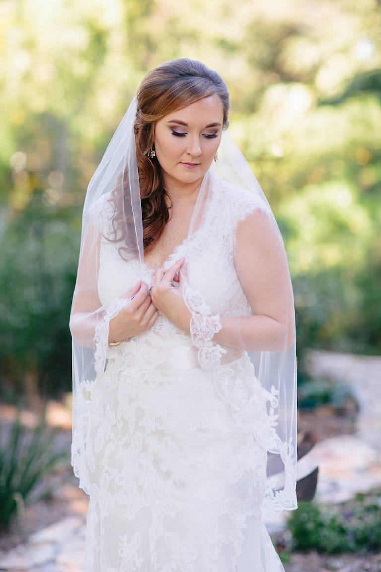Outdoor, Dover Bridal Wedding Portrait in Lace, Ivory Maggie Sottero Wedding Dress and Lace Veil