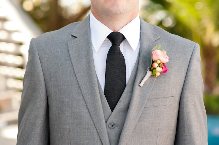 Groom's Grey Suit and Black Tie with Pink Peony Boutonniere Detail