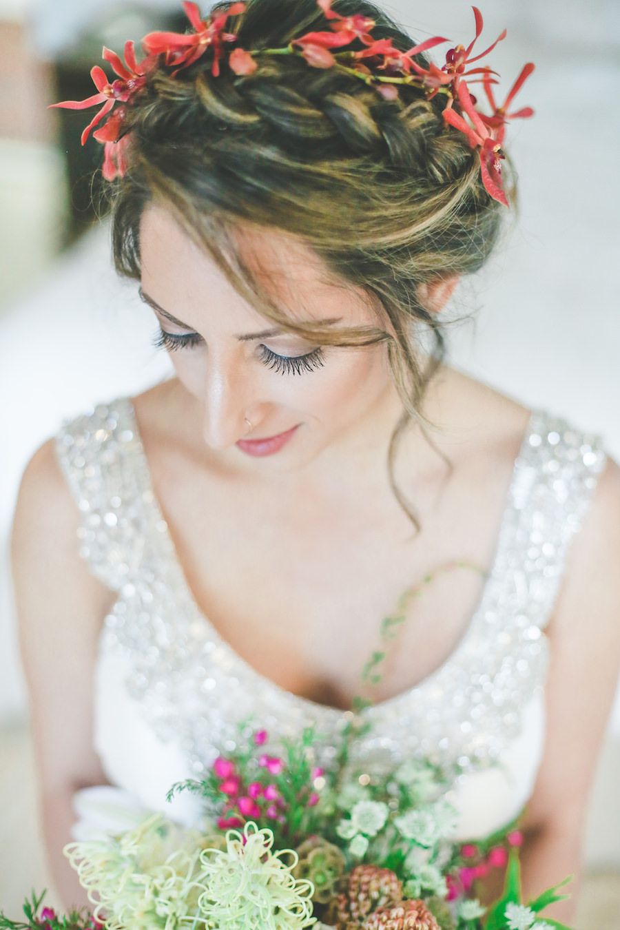 Bridal Hair and Makeup Wedding Detail Portrait with Red Flower Crown and Beaded, Anna Campbell Wedding Dress