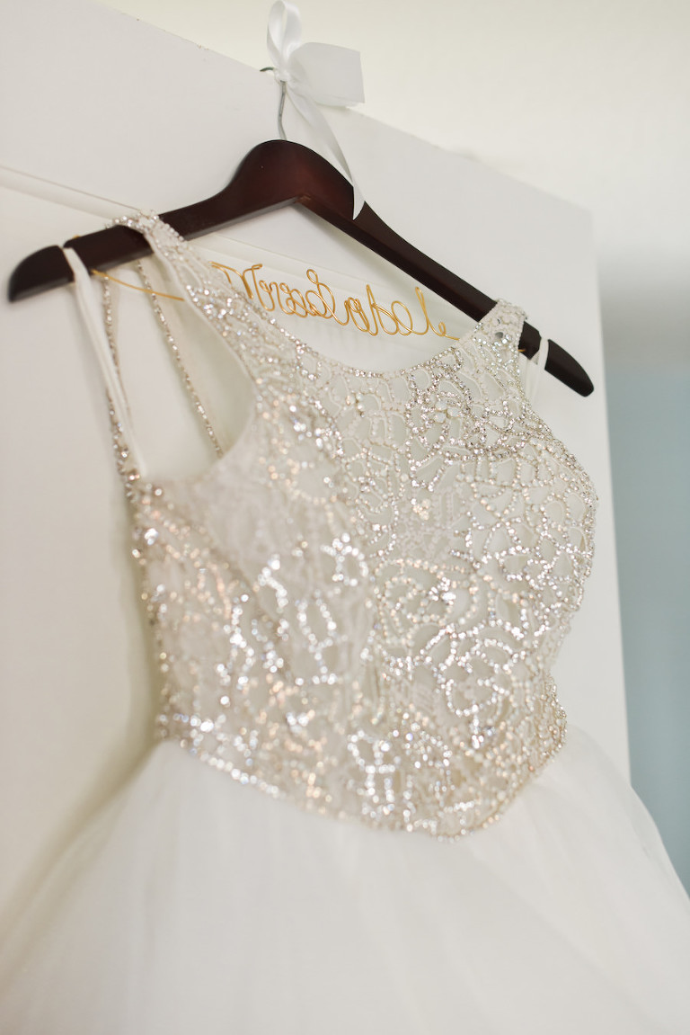 Hayley Paige Dori Wedding Dress with High Halter Neckline Beaded Bodice on Personalized Wooden Hangar
