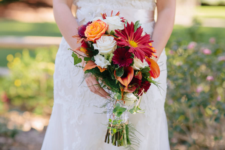Ivory, Red, and Orange Bridal Wedding Bouquet of Flowers