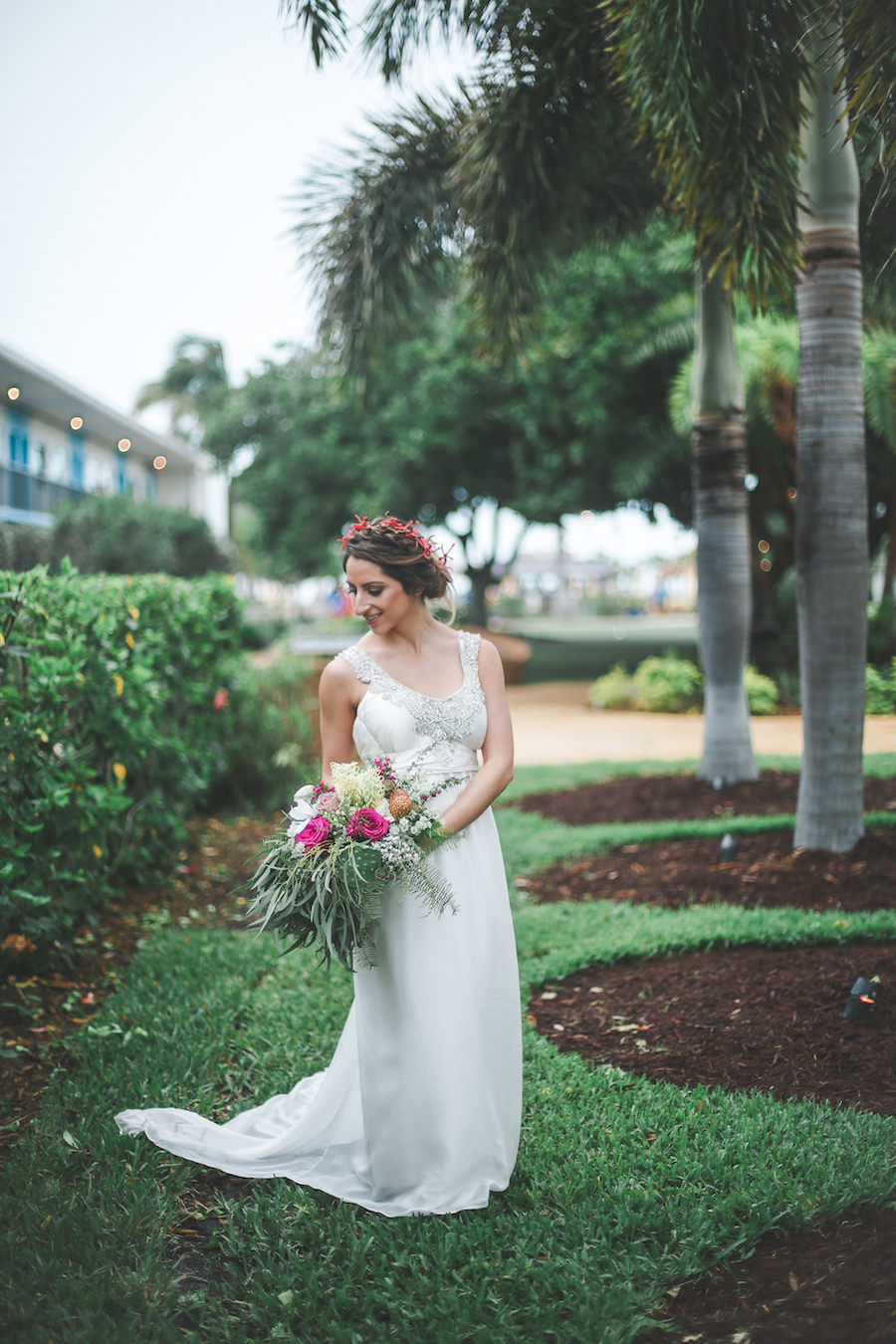 Outdoor, Bridal Wedding Portrait in Ivory, Beaded Wedding Dress and Green and Pink Floral Wedding Bouquet