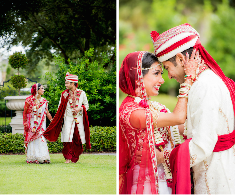 ndian Bride and Groom Wedding Portrait in Red, White and Gold Bridal Sari at Tampa Bay Wedding Venue Palmetto Club at Fishhawk Ranch Wedding Venue   Wedding Hair and Makeup Artist Michele Renee The Studio