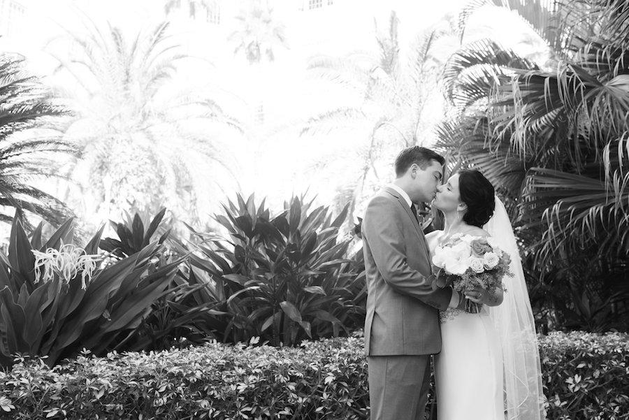 Outdoor, Bride and Groom Wedding Portrait at St. Pete Wedding Venue the Loews Don CeSar