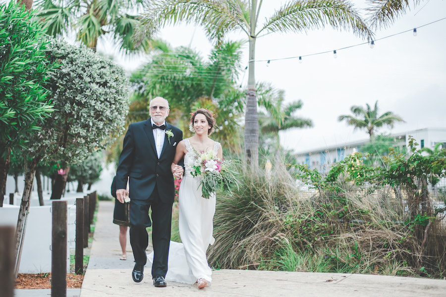 Bride and Dad Walking Down the Aisle at St. Pete Wedding Ceremony