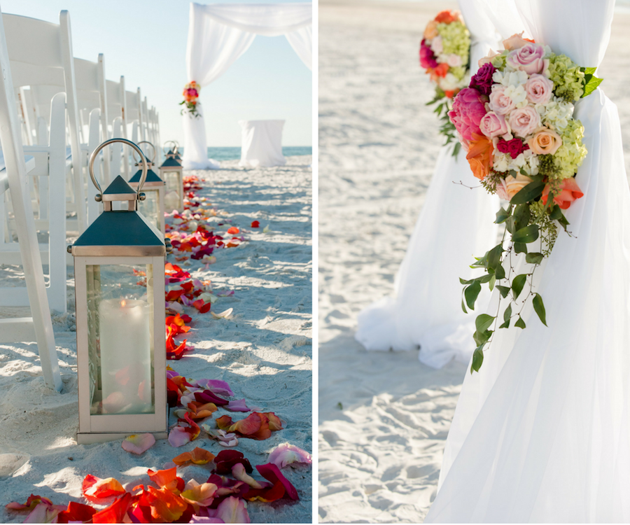 St, Pete Beach Wedding Ceremony with Pink, Orange, and Ivory Floral Arrangements and Silver Lantern at St. Pete Wedding Venue Loews Don CeSar