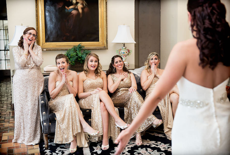 Bridesmaids Reaction of Bride In Wedding Dress   Bridesmaid Attire La Femme Gold Sparkle Sequined Dresses