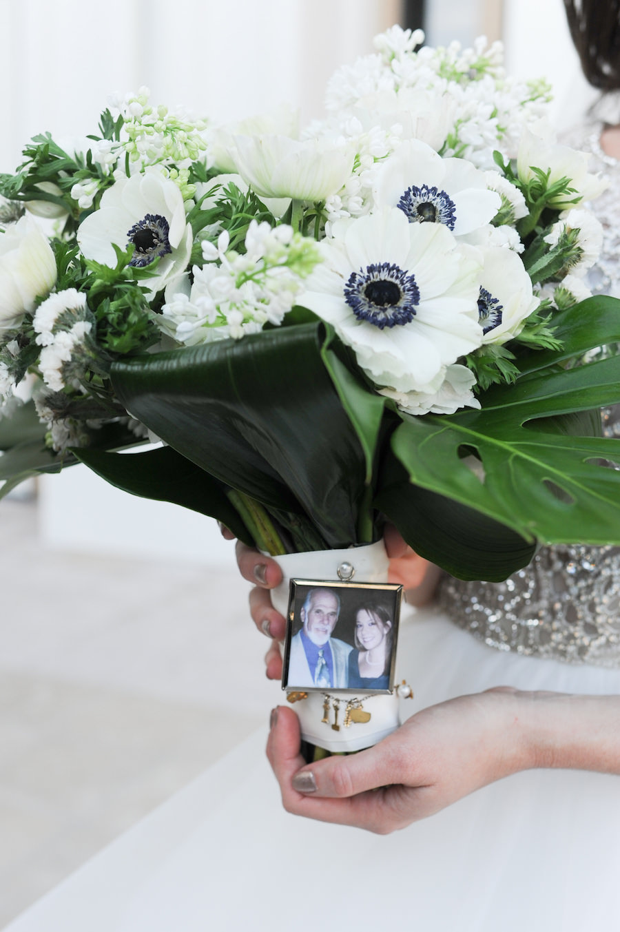 Ivory Anemone Floral Bridal Wedding Bouquet With Memory Photo Charm for Dad