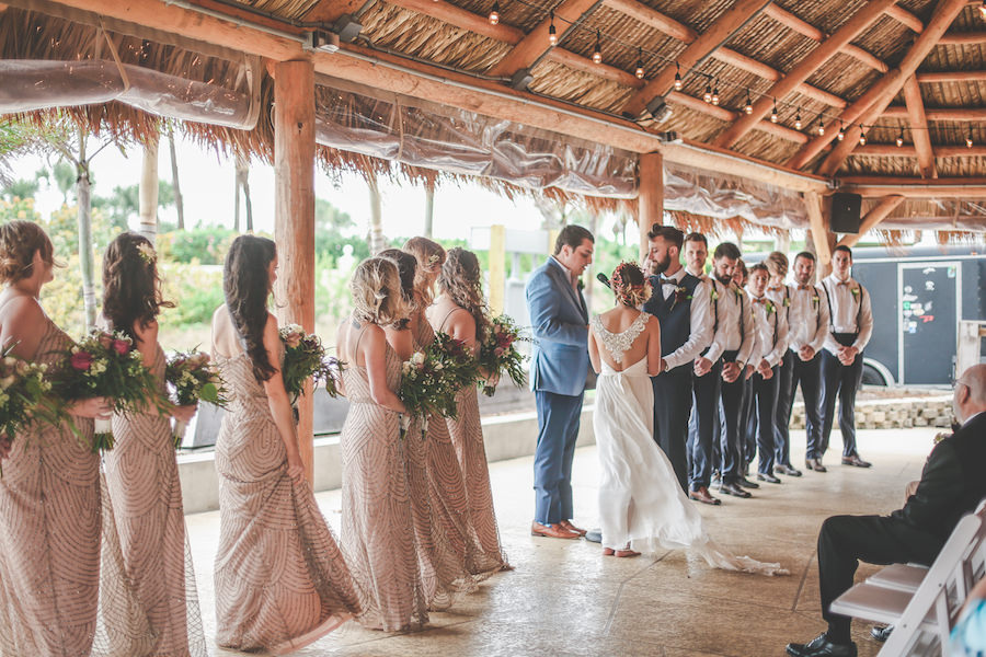 Bride and Groom Exchanging Vows at St. Pete Wedding Ceremony