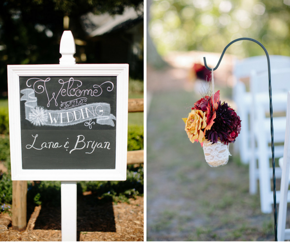 Chalkboard Welcome Sign at Dover Wedding Ceremony and Purple and Yellow Floral Ceremony Arrangements